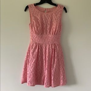 Light Pink Lace Dress with illusion neckline